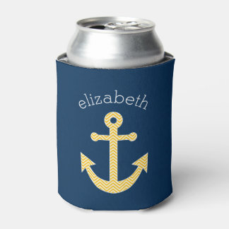 Nautical Anchor with Navy Yellow Chevron Pattern Can Cooler