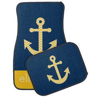Nautical Anchor with Navy Yellow Chevron Pattern Car Mat