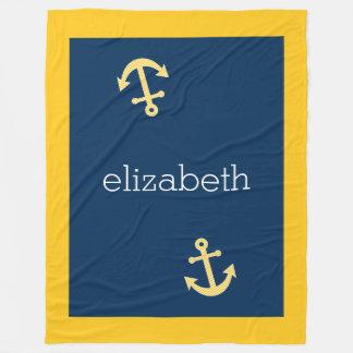 Nautical Anchor with Navy Yellow Chevron Pattern Fleece Blanket