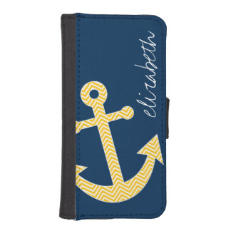 Nautical Anchor with Navy Yellow Chevron Pattern iPhone SE/5/5s Wallet Case