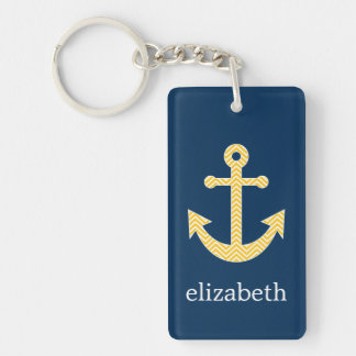 Nautical Anchor with Navy Yellow Chevron Pattern Key Ring