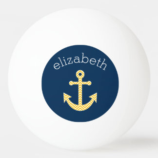 Nautical Anchor with Navy Yellow Chevron Pattern Ping Pong Ball