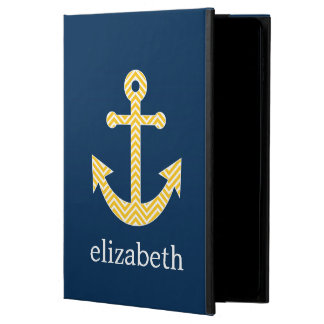 Nautical Anchor with Navy Yellow Chevron Pattern Powis iPad Air 2 Case