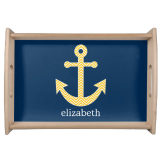 Nautical Anchor with Navy Yellow Chevron Pattern Serving Tray