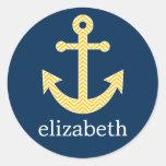 Nautical Anchor with Navy Yellow Chevron Pattern Sticker