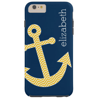 Nautical Anchor with Navy Yellow Chevron Pattern Tough iPhone 6 Plus Case