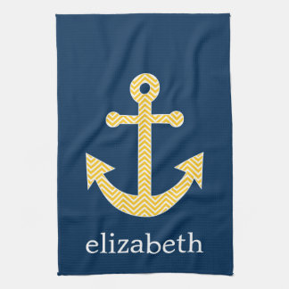 Nautical Anchor with Navy Yellow Chevron Pattern Towel