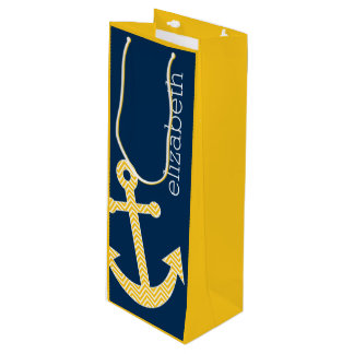 Nautical Anchor with Navy Yellow Chevron Pattern Wine Gift Bag