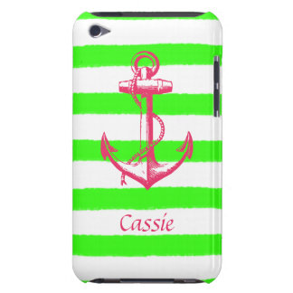 Nautical Anchor with Summer Neon Green Stripes Barely There iPod Cover