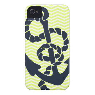 Nautical Anchor Yellow Chevron iphone 4 4S case