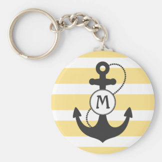 Nautical Anchor Yellow Stripes and Monogram Key Ring