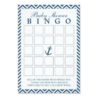 Nautical Anchor Zigzag Baby Shower Bingo Cards