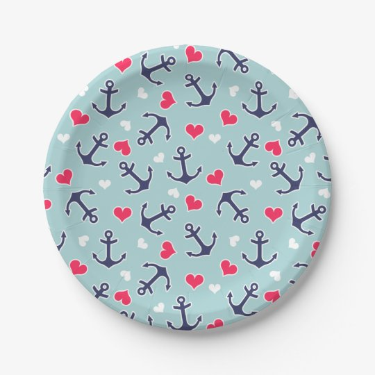 Nautical Anchors and Hearts Pattern 7 Inch Paper Plate