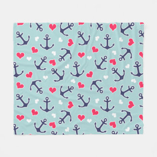 Nautical Anchors and Hearts Pattern Fleece Blanket