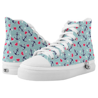 Nautical Anchors and Hearts Pattern High Tops