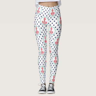 Nautical Anchors and Polka Dot Pattern Leggings
