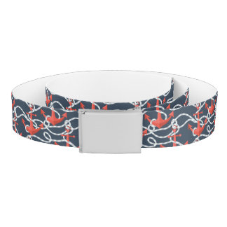 Nautical Anchors And Rope Pattern Belt