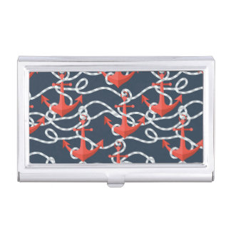 Nautical Anchors And Rope Pattern Business Card Holder