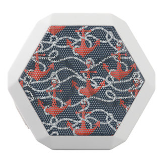 Nautical Anchors And Rope Pattern White Bluetooth Speaker