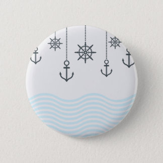 Nautical Anchors and Waves 6 Cm Round Badge