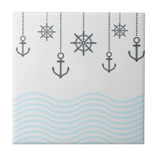 Nautical Anchors and Waves Tile