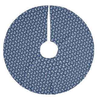 Nautical Anchors Aweigh Pattern Navy Brushed Polyester Tree Skirt