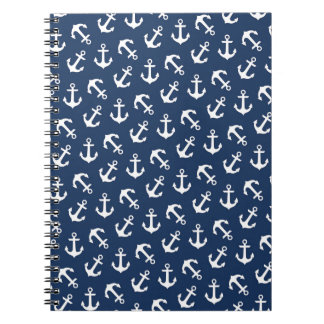 Nautical Anchors Aweigh Pattern Navy Spiral Notebook