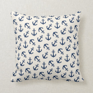 Nautical Anchors Aweigh Pattern Navy Throw Pillow