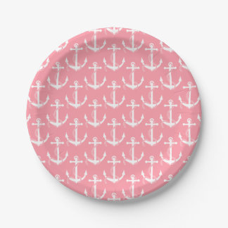 Nautical Anchors Aweigh Pink Paper Plate