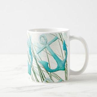 Nautical Anchors Beach Ocean Seaside Coastal Theme Basic White Mug