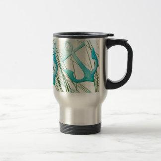 Nautical Anchors Beach Ocean Seaside Coastal Theme Coffee Mug