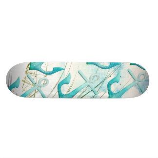 Nautical Anchors Beach Ocean Seaside Coastal Theme Skate Board