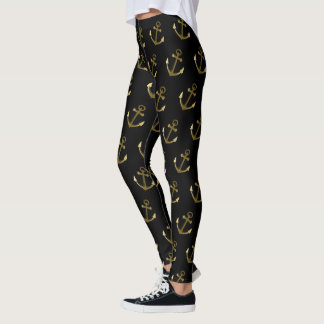 Nautical Anchors Black and Gold Metallic Look Leggings