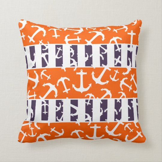 Nautical Anchors Fluo Neon Orange Navy Blue Stripe