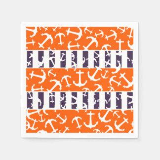 Nautical Anchors Fluo Neon Orange Navy Blue Stripe Disposable Napkin