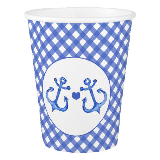 Nautical Anchors & Heart | Navy Plaid Paper Cups
