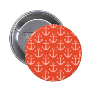 Nautical Anchors in Coral Pink Pretty Pattern 6 Cm Round Badge