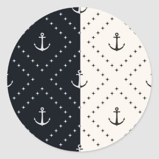 Nautical Anchors in Diamonds Cream and Black Classic Round Sticker