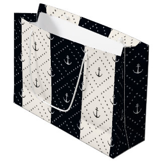 Nautical Anchors in Diamonds Cream and Black Large Gift Bag