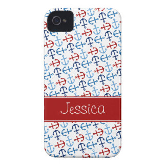 Nautical Anchors Navy Blue Red Personalized Case-Mate iPhone 4 Cases