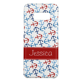 Nautical Anchors Navy Blue Red Personalized Case-Mate Samsung Galaxy S8 Case