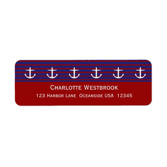 Nautical Anchors on Classic Stripe Personalised Return Address Label