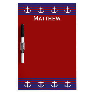 Nautical Anchors on Classic Stripe Personalized Dry Erase Board