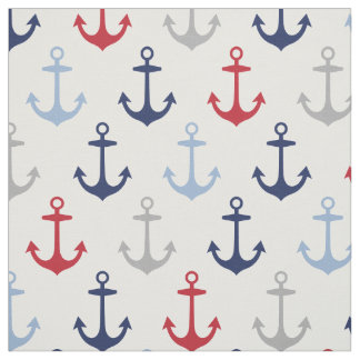 Nautical Anchors Pattern | Navy Blue Red and Gray Fabric