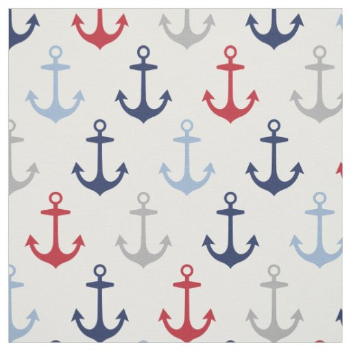 Nautical Anchors Pattern | Navy Blue Red and