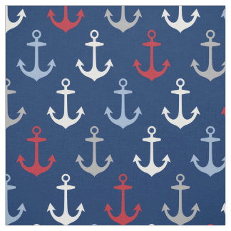 Nautical Anchors Pattern | Navy Red White and Gray Fabric