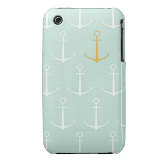 Nautical anchors preppy girly blue anchor pattern iPhone 3 Case-Mate cases