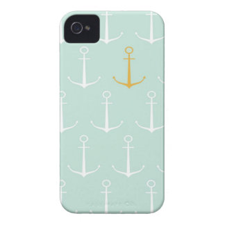 Nautical anchors preppy girly blue anchor pattern iPhone 4 cases