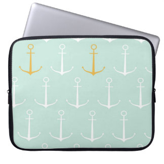 Nautical anchors preppy girly blue anchor pattern laptop sleeve