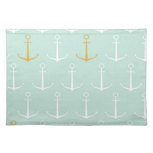 Nautical anchors preppy girly blue anchor pattern place ...